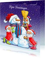 Kerstkaarten - Kerstkaart sneeuwpop maken - HE