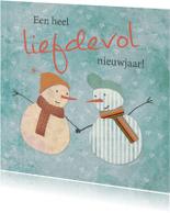 Kerstkaarten - Kerstkaart: Sneeuwpoppen en liefde