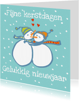 Kerstkaarten - Kerstkaart: Sneeuwpoppenliefde