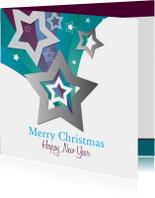 Zakelijke kerstkaarten - Kerstkaart ster blauwpaars - SZ