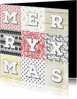 Kerstkaarten - Kerstkaart stijlvol patchwork 2019