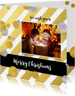 Kerstkaarten - Kerstkaart strepen goud met confetti