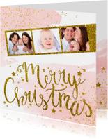 Kerstkaarten - Kerstkaart tekst fotostrip glitter aquarel