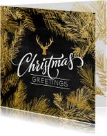 Zakelijke kerstkaarten - Kerstkaart trendy krijtbord hulst goud - SG
