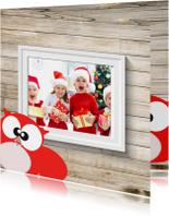 Kerstkaarten - Kerstkaart van foto gezin hout
