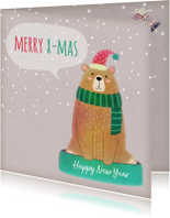 Kerstkaarten - Kerstkaart vierkant beer met muts - BK