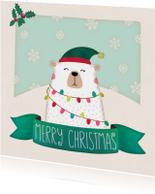 Kerstkaarten - Kerstkaart vierkant ijsbeer - BK
