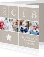 Kerstkaarten - Kerstkaart vierkant met foto's, ster en jaartal 2018