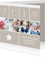 Kerstkaarten - Kerstkaart vierkant met foto's, ster en jaartal 2019