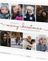 Kerstkaarten - Kerstkaart vierkant met sierlijke letters en foto's