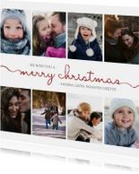 Kerstkaart vierkant met sierlijke letters en foto's