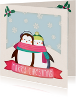 Kerstkaarten - Kerstkaart vierkant pinguïns - BK