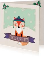 Kerstkaarten - Kerstkaart vierkant vos - BK