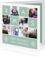 Kerstkaart vierkant XMAS met vakjes en foto's