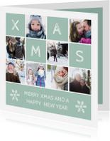 Kerstkaarten - Kerstkaart vierkant XMAS met vakjes en foto's