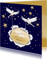 Zakelijke kerstkaarten - Kerstkaart vogeltjes met sterren