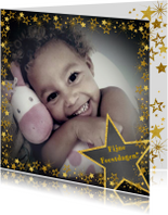 Kerstkaarten - Kerstkaart vrolijke hippe fotokaart met goudkleurige sterren