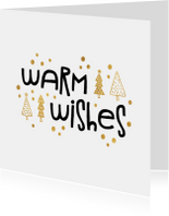 Kerstkaart 'warm wishes' goudlook