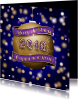Kerstkaarten - Kerstkaart wereld 2018 goud