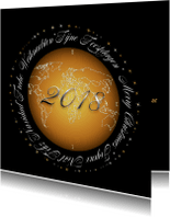 Zakelijke kerstkaarten - Kerstkaart wereld goud 2018 RB