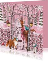 Kerstkaarten - Kerstkaart Winter Dieren Bos