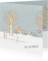 Kerstkaarten - Kerstkaart winterlandschap huisjes en hertjes