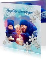 Kerstkaarten - Kerstkaart winters blauw sterren - SG