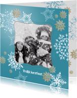 Kerstkaarten - Kerstkaart witte en gouden sneeuwkristallen + foto