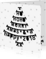 Zakelijke kerstkaarten - Kerstkaart zakelijk kerstboom letterslingers