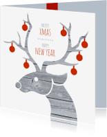 Zakelijke kerstkaarten - Kerstkaart zakelijk rendier en kerstballen
