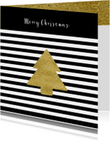 Zakelijke kerstkaarten - Kerstkaart zwart wit kerst ster goud