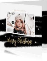 Kerstkaarten - Kerstkaart zwart wit streep foto