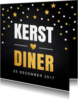 Kerstkaarten - Kerstkaartdiner uitnodiging confetti goud krijtbord