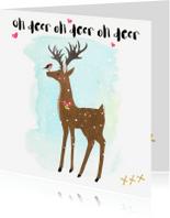 """Kerstkaarten - """"Kerstkaartje hert in de sneeuw met roodborstje -SD"""