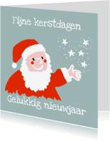 Kerstkaarten - Kerstman: Kerstman strooit met sterren