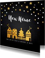 Kerstkaarten - Kerstverhuiskaart gouden confetti huisjes
