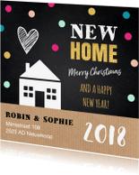 Kerstkaarten - Kerstverhuiskaart label huis kraft krijtbord stippen