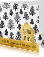 Kerstkaarten - Kerstverhuiskaart zwart-wit goud