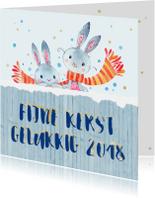 Kerstkaarten - Kertwens op hout met konijnen