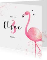 Kinderfeest uitnodiging roze met flamingo en spetters