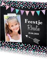 Kinderfeestjes - Kinderfeestje confetti meisje krijtbord