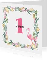 Kinderfeestjes - Kinderfeestje uitnodiging hip met flamingo en bloemen