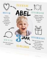Kinderfeestje uitnodiging jongen met foto en leuke weetjes