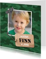 Kinderfeestjes - Kinderfeestje uitnodiging jongen stoer leger