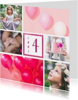 Kinderfeestje uitnodiging met 6 foto's roze