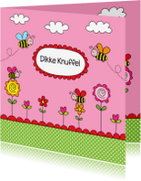 Kinderkaarten - Kinderkaart bijtjes roze