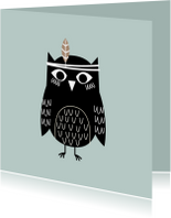 Kinderkaarten - Kinderkaart groen kraft uil