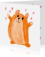 Kinderkaart hamster hartjes