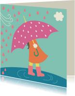 Kinderkaarten - Kinderkaart-Meisje in regen-HK