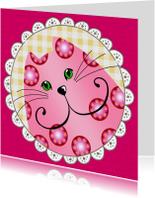 Kinderkaart Roze Katje
